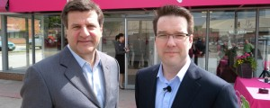 Mobilicity chairman John Bitove, right, at the carrier's launch May 2010 © IT World Canada
