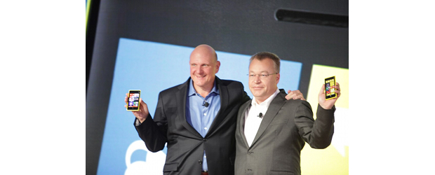 Microsoft's Steve Ballmer, left, and Nokia's Stephen Elop
