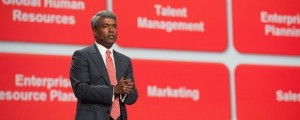 Thomas Kurian delivered news Larry Ellison was supposed to deliver. Oracle photo
