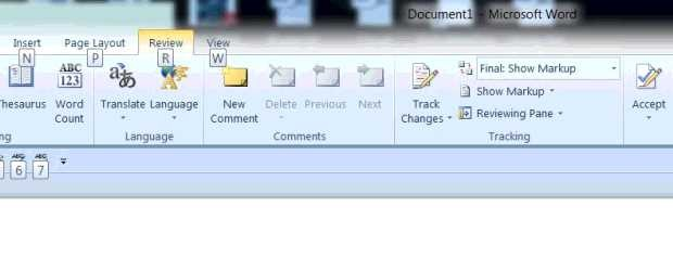 Microsoft Word screen shot