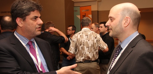 Joel Verreautl, left, and Michael Garbe at the ISP Summit (ITWC photo)