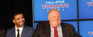 Canadian singer, Drake (left) and Toronto Mayor Rob Ford