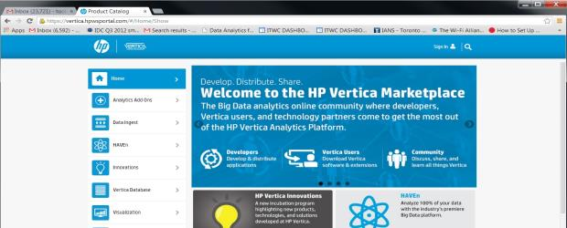 FEATURE Vertica Marketplace screenshot