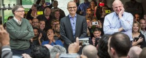 New Microsoft CEO Satya Natella, centre, meets staff with Gates, left and Ballmer