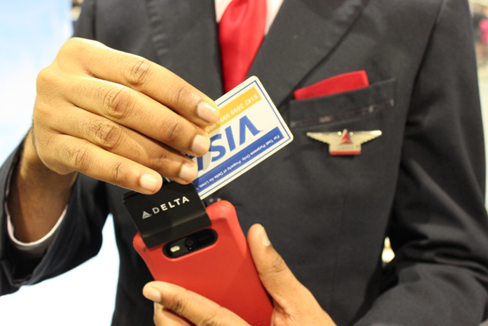 Delta can accept credit card payments using a smartphone attachment during flights.