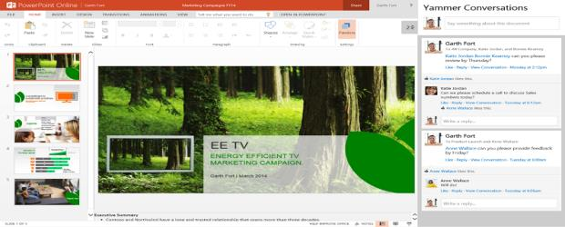 Yammer conversations, right, will be seen in PowerPoint Online presenations