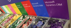 A row of tags at a Microsoft Dynamics conference