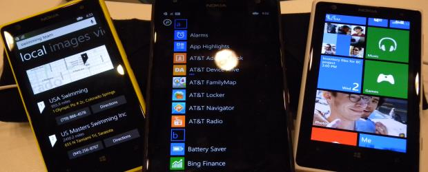 Three Nokia Lumia smart phones on display at Microsoft Build 2014