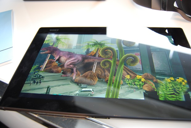 The Sony Xperia Z2 tablet, showing a photo with the augmented reality feature layered on top.