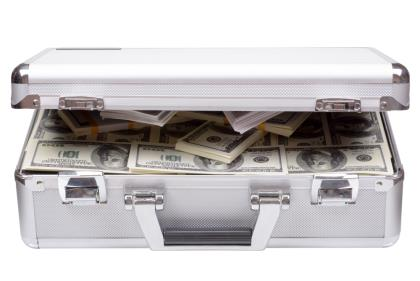 SLIDE SIZE suitcase with cash, ransom SHUTTERSTOCK