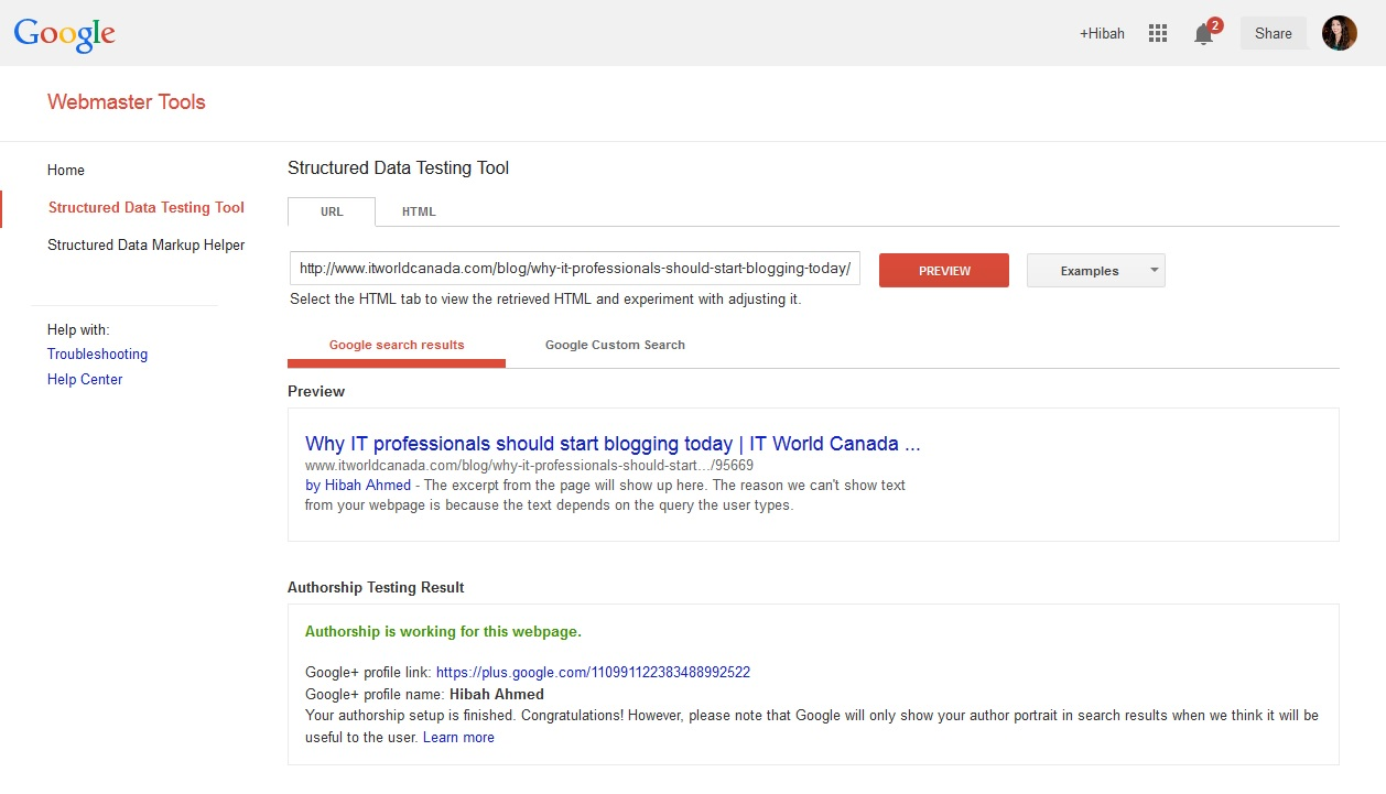Screenshot Google authorship verification