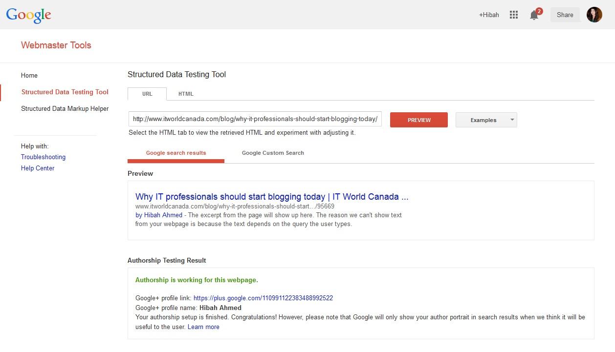 Screenshot Google authorship verification
