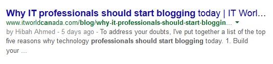 Blogging 103 Screenshot of google search