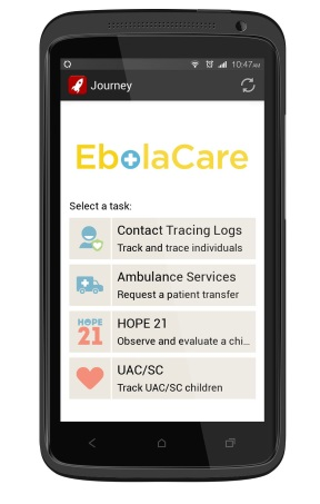 INSIDE Ebola Care app on phone