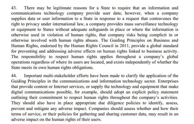 in story excerpt 1 from UN report on privacy