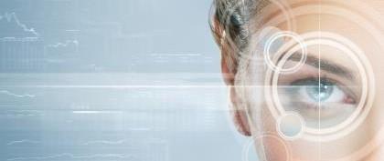 Close up of person's eye, technology, biometrics