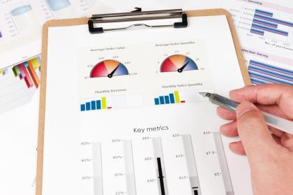 Clipboard with grahics and metrics