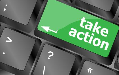 Keyboard with 'take action' button