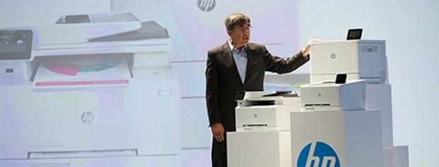 Pradeep Jotwani with HP laser jet printers