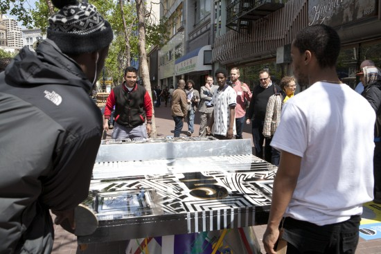 A public art exhibit on Market Street in San Francisco invites hands-on engagement from the public. (Photo courtesy http://marketstreetprototyping.org/)