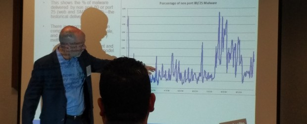 Scott Stevens, Vice President of World Wide Service Provider Sales for Paolo Alto shows the seasonal trends in malware attacks.