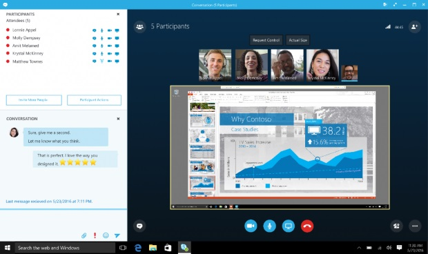 Skype for Business supports multiple participants through a browser.