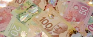 Canadian currency, money, dollar bills