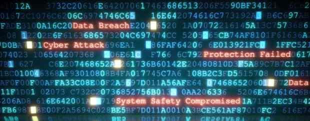 Graphic of computer screen illustrating data breach