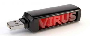 "USB flash drive with the word ""virus"" inside"