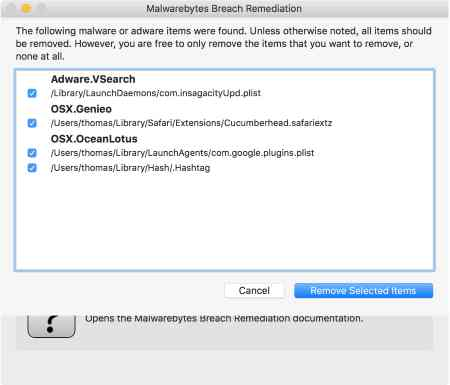 INSIDE Malwarebytes Breach Remediation screen shot