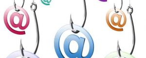 Graphic of fishing lures and email symbol