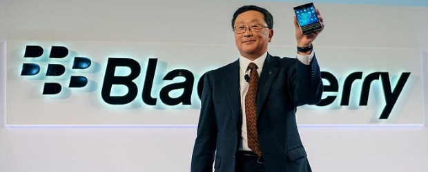 BlackBerry CEO John Chen shows off the company's Passport handset in this undated photo.