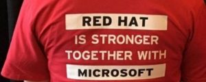 A T-Shirt wearing supporter at the Red Hat/North America Partner Conference in Toronto