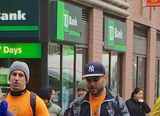 New York street with TD Bank