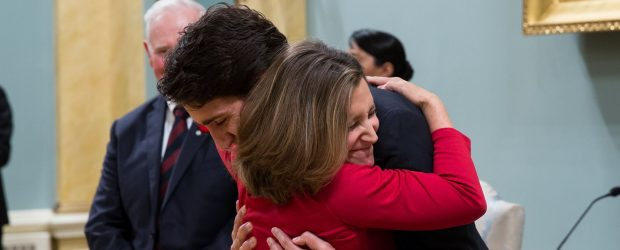 Chrystia Freeland embraces Justin Trudeau