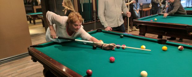 Jeannie Button playing pool