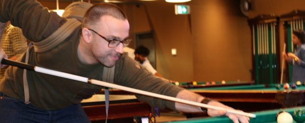 Dominique Lemoine plays pool