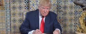 Donald Trump writing inaugural address