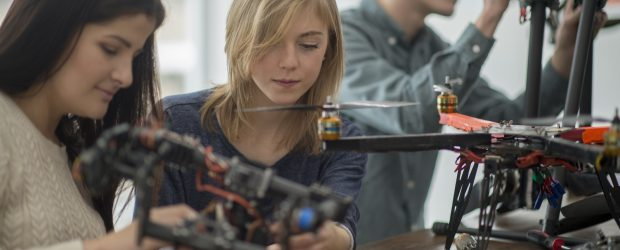 Women working on a Mechanical Drone Project