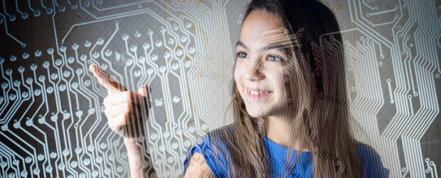 girl through the circuit board. new technological generation concept