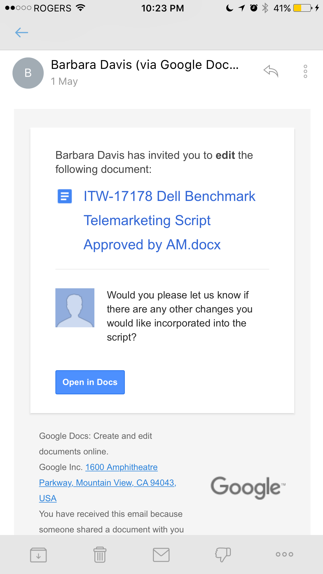 Invitation - Google Docs phishing scam