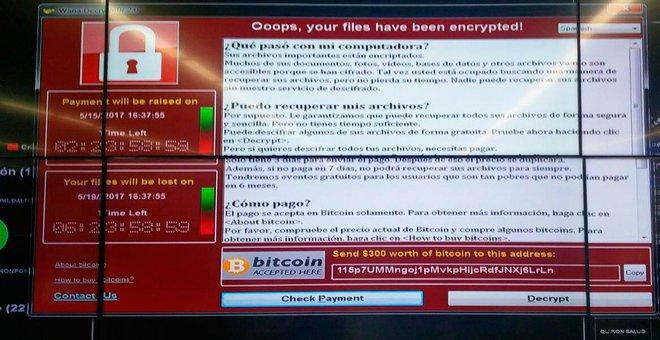 WCry decrypter on a computer screen (Source: El Mundo)