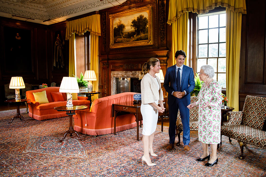 Justin and Sophie Trudeau with Queen Elizabeth II