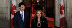 Julie Payette with Justin Trudeau