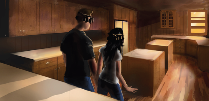 Comic book showcasing a couple envisioning their kitchen renovation through VR before it became popular
