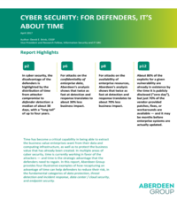 Cybersecurity: For Defenders, It's about Time