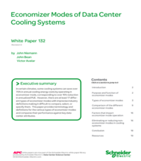 Economizer Modes of Data Center Cooling Systems
