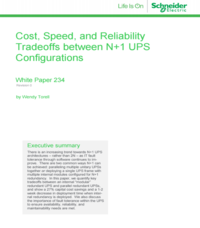 Cost, Speed, and Reliability Tradeoffs between N+1 UPS Configurations