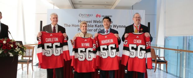Michael Tremblay CEO, Invest Ottawa, Premier Wynne, Huawei Rotating CEO and Deputy Chairman Ken Hu, and CENGN VP Richard Waterhouse.