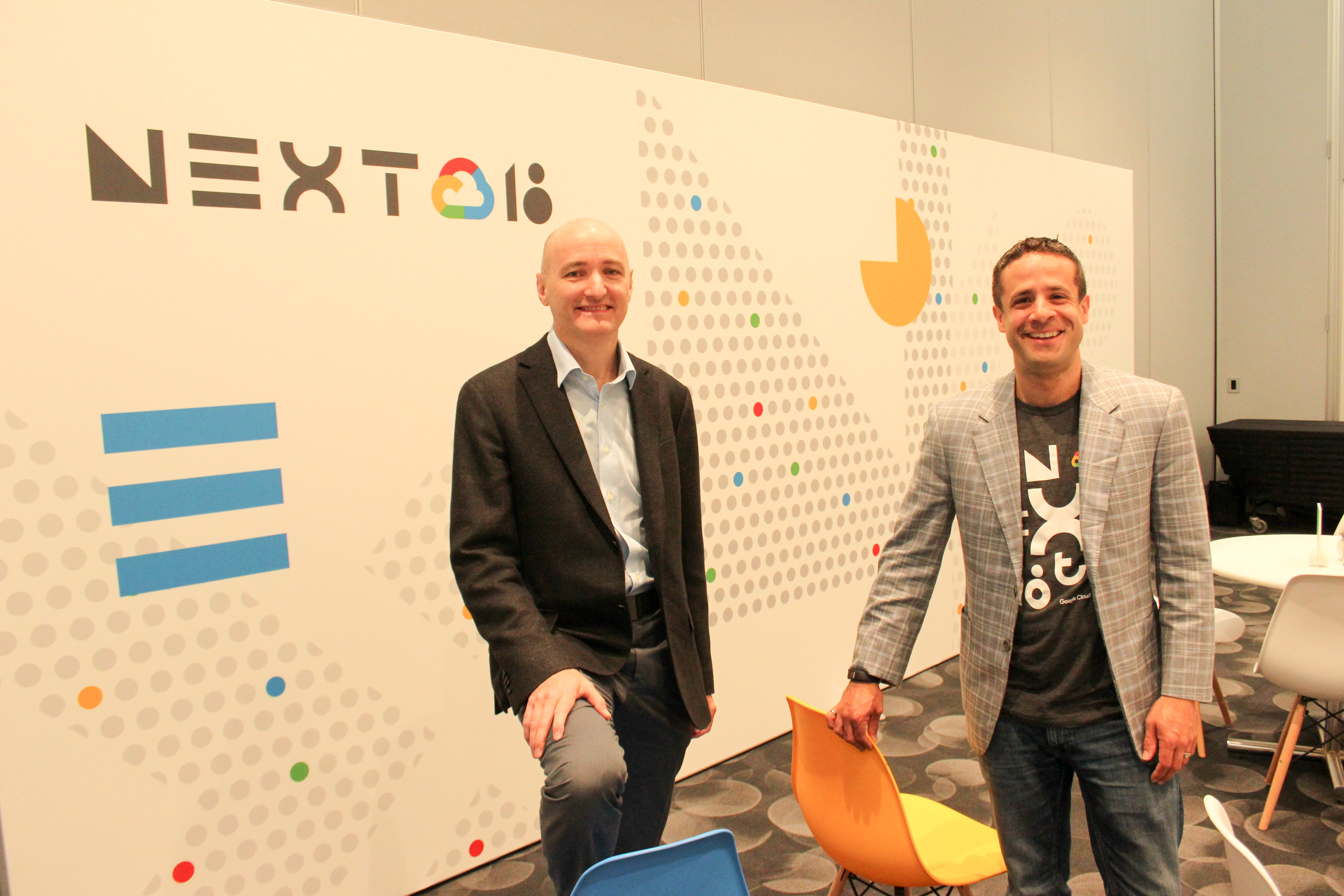 Neil Cawse (left), CEO of Geotab poses with his vice-president of data and analytics Mike Branch at Google Next in San Francisco.